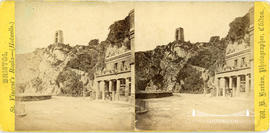 Stereoview showing male figure outside Hotwells Spa with the Clifton tower in the background