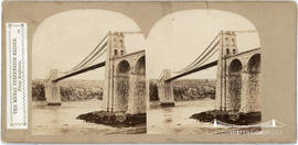 Sedgfield's Welsh Scenery stereoview of the Menai Suspension Bridge taken from Anglesea
