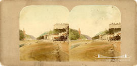 Coloured stereoview of the Avon Gorge showing the abandoned towers of Clifton Suspension Bridge