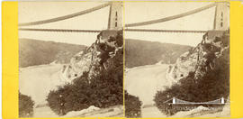 Stereoview showing the Clifton Suspension Bridge under construction