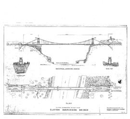 Plan and elevation of Clifton Suspension Bridge and elevations of towers