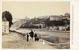 Photograph of Clifton Suspension Bridge showing a family by the New Inn waiting for the Ferry