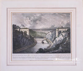 Lithograph showing Mr William Armstrong's Design for a Chain Bridge Across the River Avon, from S...