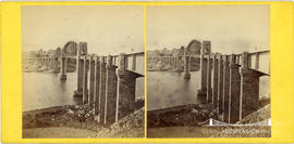 Stereoview of the Royal Albert Bridge, Saltash taken from the South East