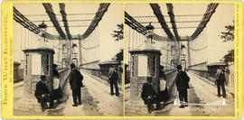 North Wales Illustrated stereoview of the Menai Suspension Bridge showing pedestrians by the toll...