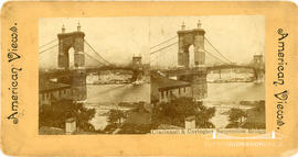 Stereoview of Cincinnati and Covington Suspension Bridge