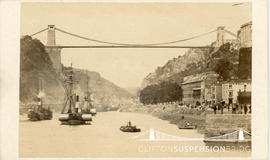 Photograph of Clifton Suspension Bridge showing steam boats on the River Avon