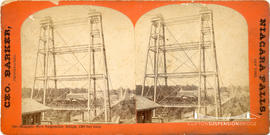 Stereoview showing  the construction of the new suspension bridge at Niagara Falls