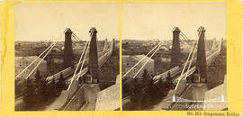 Stereoview showing  the railway suspension bridge at Niagara Falls