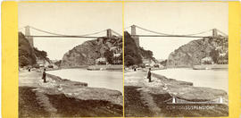Stereoview of the Avon Gorge from the Somerset bank showing the Clifton Suspension Bridge under c...