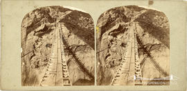 Stereoview of the rope bridge at Carrick-A-Rede, Ireland