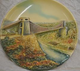 Colour relief moulded plate of Clifton Suspension Bridge