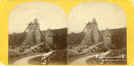 Stereoview of the Clifton Suspension Bridge under construction taken from the Clifton side showin...