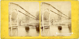 Stereoview of the suspension footbridge, Queen's Park, Chester