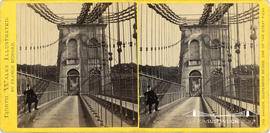North Wales Illustrated stereoview of the Menai Suspension Bridge showing one of the piers