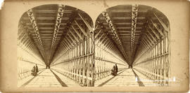 Stereoview of the wooden walkway under the railway suspension bridge at Niagara Falls