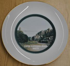 Gold rimmed plate with photograph of the Clifton Suspension Bridge