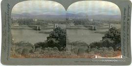 Keystone View Company stereoview of suspension bridge at Kenmare, Ireland