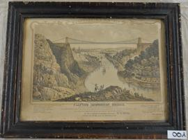 Print entitled 'Clifton Suspension Bridge erected by John Hawkshawe Esq. F.R.S. & W.H.Barlow....