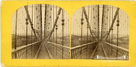 Stereoview of the Menai Suspension Bridge looking down the walkway
