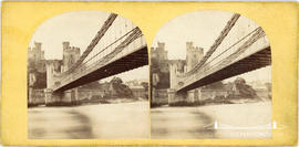 Stereoview of the suspension bridge at Conway Castle