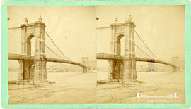 Stereoview of the Cincinnati - Covington Suspension Bridge