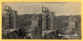 Stereoview of Clifton Suspension Bridge under construction taken from Clifton side