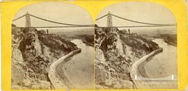 Stereoview of Clifton Suspension Bridge under construction showing the Portway