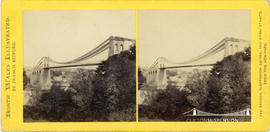 North Wales Illustrated stereoview of the Menai Suspension Bridge taken from the new park