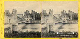 North Wales Illustrated stereoview of the suspension bridge at Conway taken from the Island