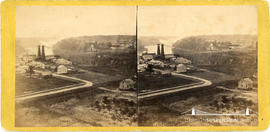 Stereoview of the railway suspension bridge at Niagara Falls taken from Monteagle House, Niagara