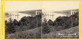 North Wales Illustrated stereoview of the Suspension Bridge and Menai Straits