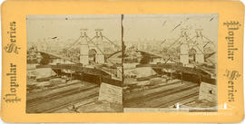 Popular Series stereoview of suspension bridge at Minneapolis