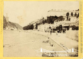 Photograph entitled 'Site of Suspension Bridge, Clifton' taken from Hotwells and showing abandone...