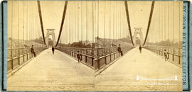 Stereoview showing pedestrians on carriageway of Clifton Suspension Bridge