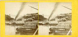 Stereoview of the Avon Gorge showing the Clifton Suspension Bridge with towers incomplete