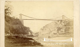 Photograph showing the completion of the caps to the towers of Clifton Suspension Bridge