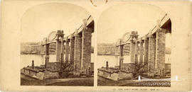 Stereoview of the Royal Albert Bridge, Saltash taken from the South East showing scaffolding on t...