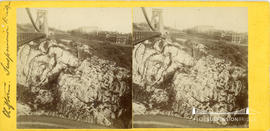 Stereoview of the Clifton Suspension Bridge showing scaffolding for top of Clifton tower