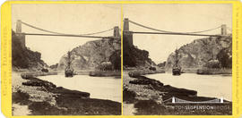 Clifton Illustrated stereoview of Clifton Suspension Bridge from river bank