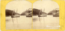 Stereoview of the Avon Gorge showing scaffolding on the towers of Clifton Suspension Bridge with ...