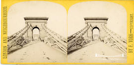 London and Neighbourhood stereoview of Hammersmith Bridge designed by William Tierney Clark
