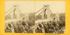 Stereoview of Clifton Suspension Bridge showing kiosk by Clifton tower
