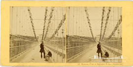 Stereoview of the Menai Suspension Bridge showing pedestrians on the Anglesea end