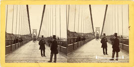 Stereoview of Clifton Suspension Bridge showing pedestrians and horse and carriage, taken from ca...
