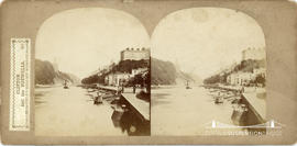 Sedgfield's English Scenery stereoview of Clifton and Hotwells showing the incomplete Clifton Sus...