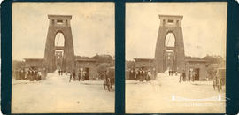 Stereoview of Clifton Suspension Bridge showing pedestrians by toll houses