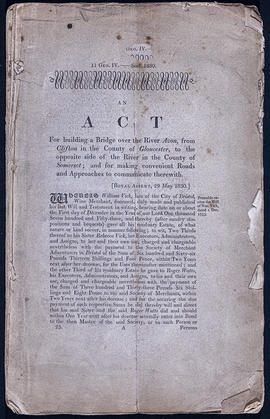 An Act for building a Bridge over the River Avon, from Clifton in the County of Gloucester to the...