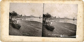 Stereoview of the Hammersmith Bridge designed by Joseph Bazalgette