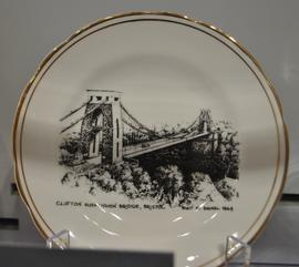 Gold-edged bone china plate decorated with a transfer image of Clifton Suspension Bridge